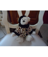 "J.A.C. off white bear wearing leopard print coat and matching hat 10"" - $5.50"