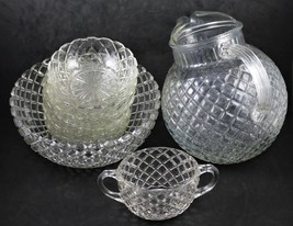 Set of 9 Pieces, Waterford aka Waffle, Clear, Pitcher, 7 Bowls and Sugar... - $36.00