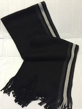 Nautica Mens Black Contrast Side Stripe Fringed Scarf One Size Great Gift - £20.11 GBP