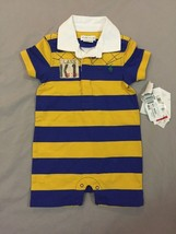 Ralph Lauren Stripe Romper (Baby) Monaco Blue 6M - $18.69