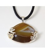 Necklace Brown Drusy Agate Citrine Pendant, Sterling Silver, Black Silk ... - $64.35