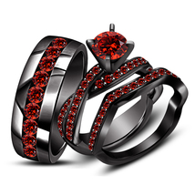 Round Cut Red Garnet 925 Silver Black Gold Wedding Trio Ring Set & Free Shiping - £111.14 GBP