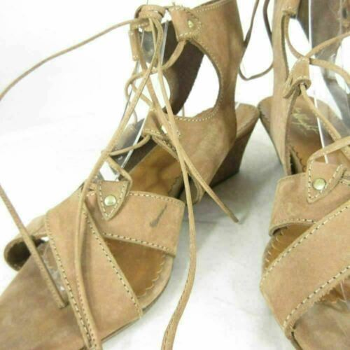 7 - MISS ALBRIGHT Anthropologie Tan Leather Lace Up Wedge Sandals 0000MB