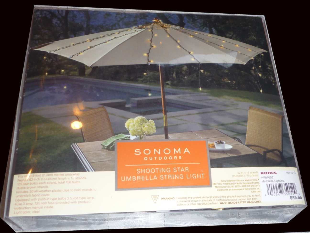 Umbrella String Lights-$60 SONOMA Outdoor Shooting Star Dorm Lighting-Bed Canopy image 6