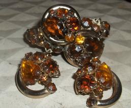 Vintage Topaz Rhinestone JULIANA style wide cuff Hinged Bracelet earrings 3 pcs - $55.00