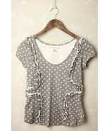 Anthropologie Little Yellow Button Polka Dot Ru... - $24.95