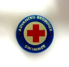 Vintage Red Cross Advanced Beginner Swimmer Pin Button -Union Made in USA - $9.99