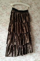 Vintage Velvet Tiered Long Party Skirt Ball Skirt Elastic Waist One Size image 3