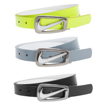 Nike Women's Swoosh Cutout Skinny Reversible Belt, Black Gray Yellow - $45.00