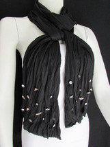 New Women Scarf Soft Fabric Fashion Black Long Necklace Silver Metal Sta... - $11.75