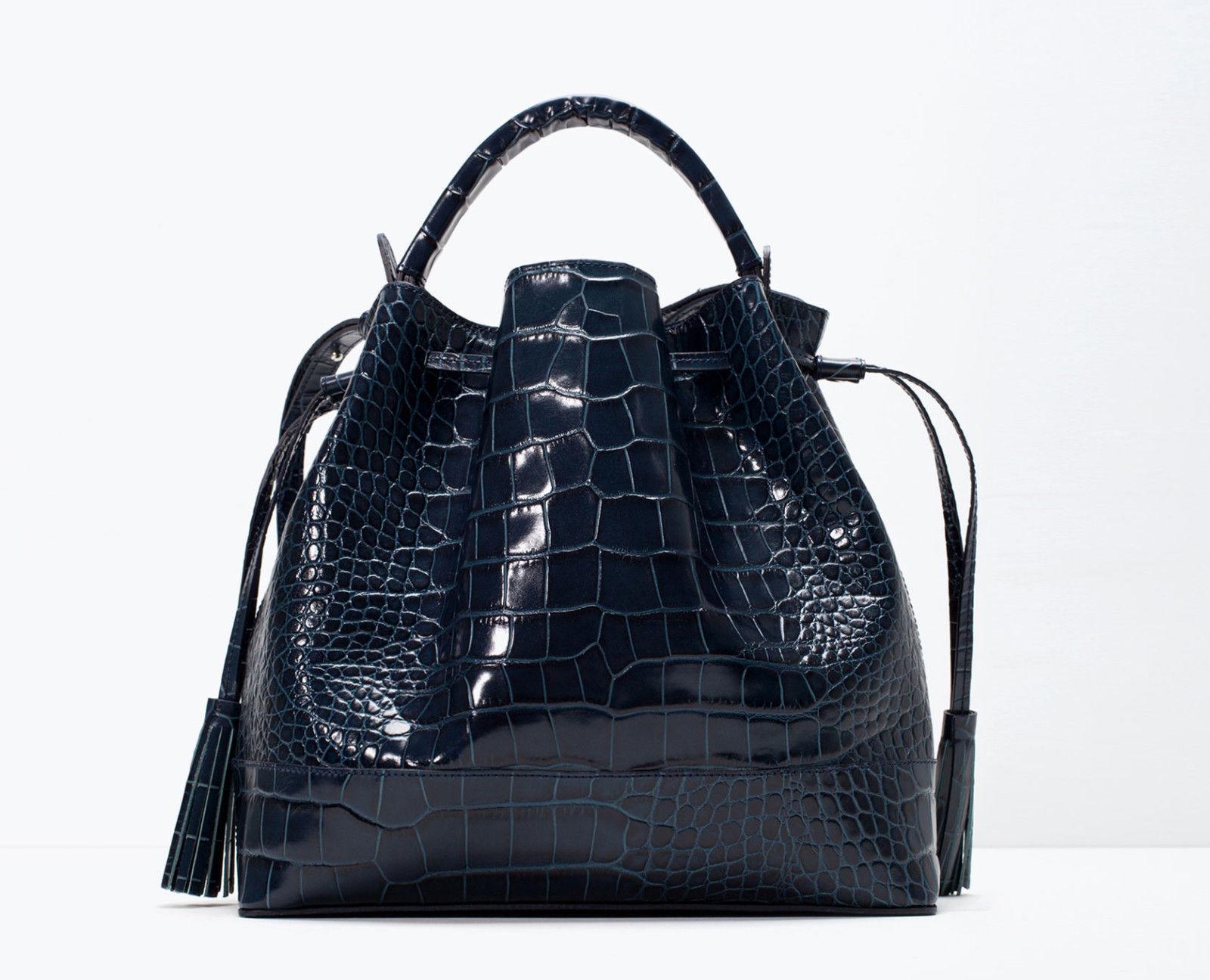 ba0f9de5d8 Zara Petroleum Blue Croc Embossed Leather and 50 similar items