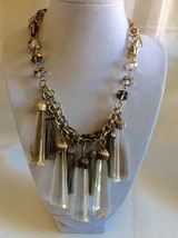 "Fashion Gold Tone tassels Glass drop charms chain cluster pendants necklace 23""L - $34.65"