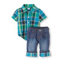 The Children's place baby boys plaid shirt bodysuit & jeans set 2 pc 6-9m (#B1 ) - $25.73