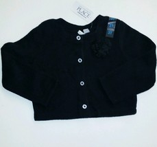 The Children's Place Toddler Girls 9-12m Fleece Button Down Sweater black Nwt - $7.92