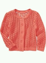 New OLD NAVY Girl ~ Pointelle Knit Cardigan Sweater Coral size 3T Toddle... - $14.85