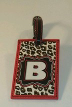 Personalized leather Luggage Tag Bag  Travel ID Leopard Cheetah Animal  ... - $10.40