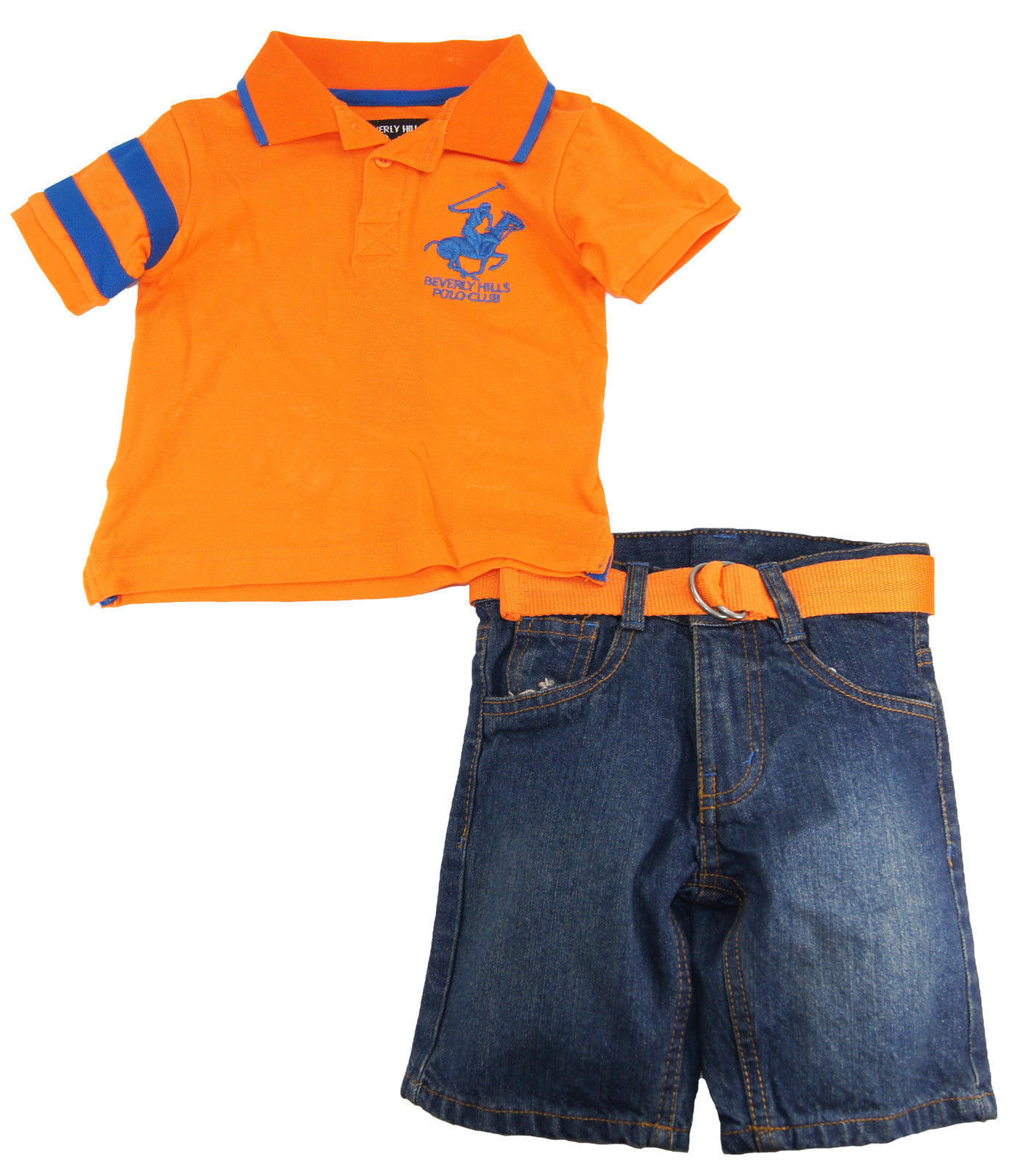 Beverly Hills Polo Club Little Boys S//S Orange Polo 2pc Denim Short Set