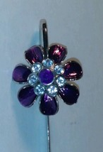 Rose Silver Metal Bookmark / mail opener with rhinestones  Pendant Vintage - $9.89