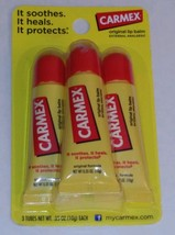 Carmex Original Flavored Lip Balm Value Pack 3 tube .35oz SPA 15 sunscreen - $4.94