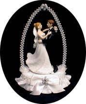 Once Upon a Time Fairytale Princess Bride & Groom Wedding cake topper wh... - $53.46