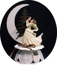 Chic Rustic Mocha Coffee Brown Wedding Cake TOPPER, country western shab... - $39.50