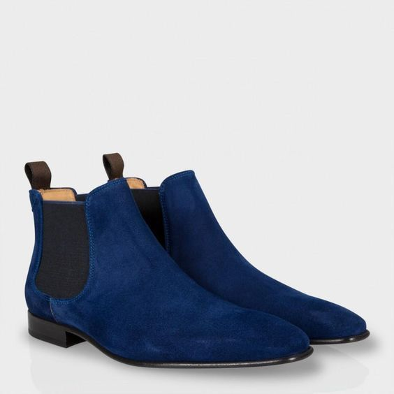 Handmade Mens Chelsea Pointed Toe Blue Suede Leather Boots