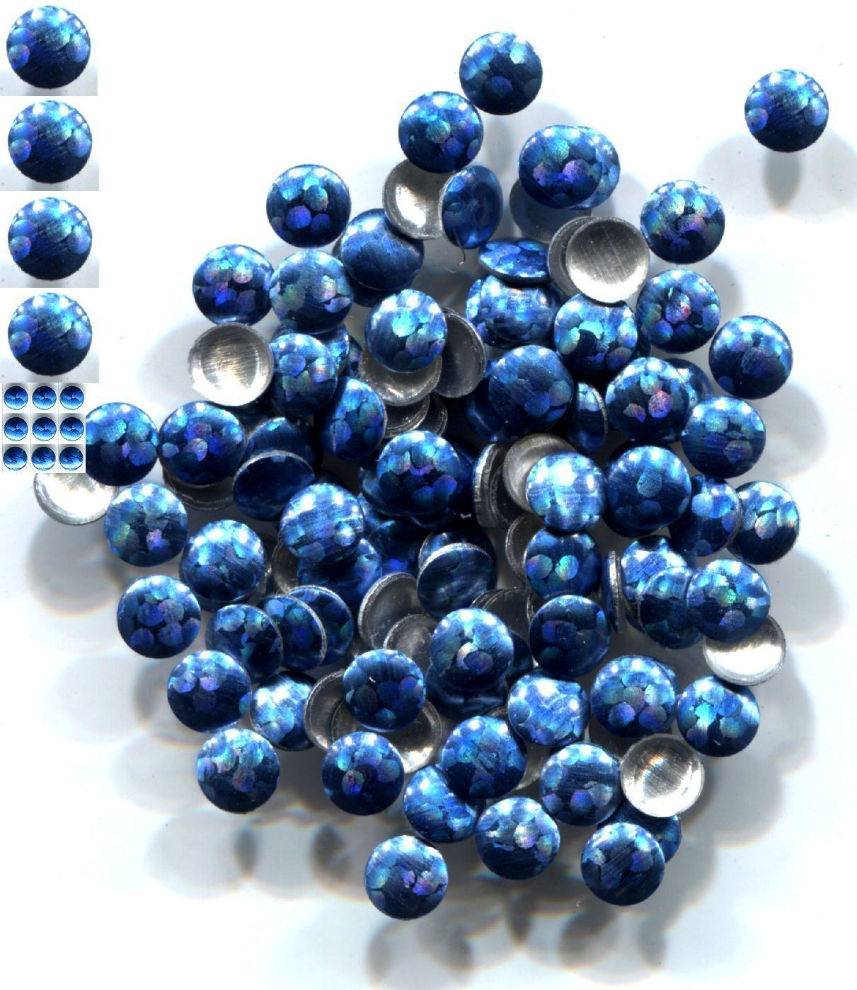 Primary image for HOLOGRAM Round Nailheads BLUE SUEDE 4mm Hotfix  1 gross