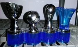 COPCO Karim Rashid 4 Topper Set Blue  MOD Wine Alcohol Bottle Stopper Ba... - $49.99