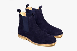 Handmade mens chelsea suede leather boots, Mens Blue chelsea suede boots - $179.99