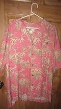 Joe Marlin Size 3X Orange / Clay Hawaiian Print Loose Button Down Shirt - $16.68