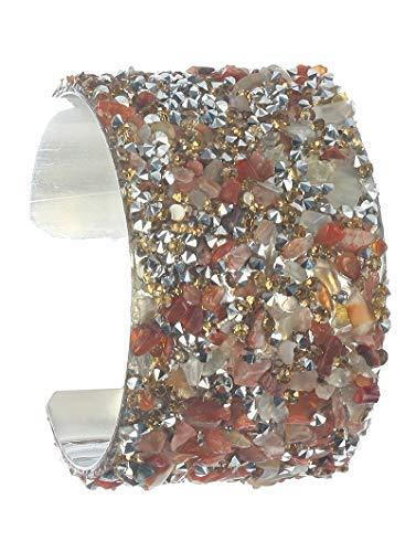 scarlettsbags Statement Piece Stone Cluster Cuff Bracelet (Multi)