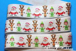 """5 yards  1"""" Christmas Santa Elf  Deer  Elastic Ribbon - $5.00"""