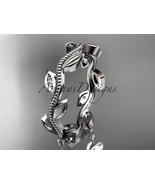 Leaf bridal ring, 14kt  white gold diamond leaf  engagement ring, weddin... - $525.00