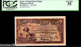 "EGYPT P11 ""SPHINX"" 1917 50 PIASTRES ""PHAROH KHAFRE"" PCGS 35! EXTREMELY R... - $6,950.00"