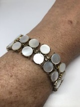 Vintage 1970's Gold Finished Mother Of Pearl  Link Bracelet - $84.15