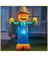 6' Lighted Airblown Inflatable Pumpkin Scarecrow Halloween Outdoor Lawn ... - €42,41 EUR