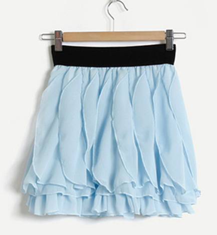 Whimsical Lady. Romantic Sweet Princess. Light Blue Wavy Petals Chiffon Skirt