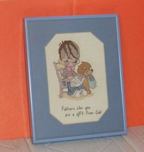 Precious Moments Cross Stitch Glass Framed Dads are Gift from God Hand C... - $8.95