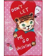 ACEO ATC Art Card Collage Valentines Valentine's Day Tiger Cub Red Heart... - $5.00