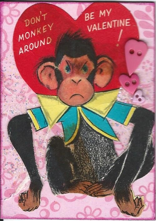 Primary image for ACEO ATC Art Collage Valentine Valentine's Monkey Chimp Be Mine Red Heart