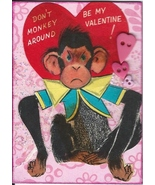 ACEO ATC Art Collage Valentine Valentine's Monkey Chimp Be Mine Red Heart  - $5.00