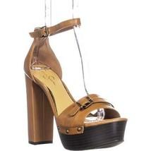 Jessica Simpson Cosimo Ankle-Strap Platform Sandals, Tan Leather, 10 US ... - $71.99