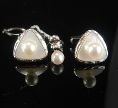 Wedding set cufflinks HIGH end Sterling genuine pearl cuff links & tie t... - $245.00