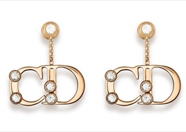 Authentic Christian Dior DIOR Initials Crystal Gold Earrings 2016 RARE