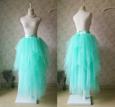 Adult Princess Skirt Mint Green Aqua Long Tulle Skirt Prom Skirt Plus Size NWT image 2
