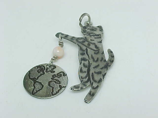 Primary image for STERLING SILVER CAT Jewelry Art PENDANT/CHARM - Designer  - FREE SHIPPING