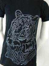 American Apparel 50/50 Blend White Tiger Graphic Print Black T Shirt Small S - $22.95