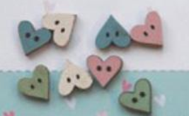 Assorted Mini Heart Buttons (Blue) 8pcs wooden buttons The Bee Company  - $3.75