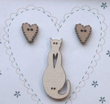 Hearts & Cream Cat Buttons (3pcs) wooden buttons The Bee Company  - $5.25