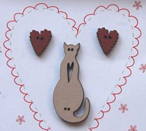 Hearts & Linen Cat Buttons (3pcs) wooden buttons The Bee Company  - $5.25